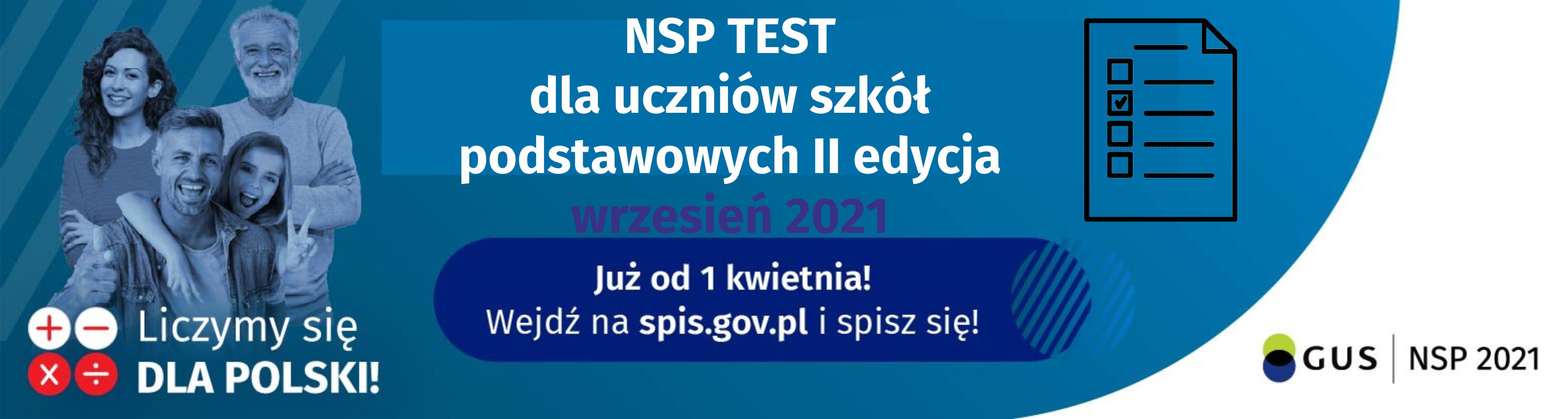 Konkurs NSP test wiedzy o Narodowym Spisie Powszechnym 2021 dla uczniów szkół podstawowych II edycja wrzesień 2021